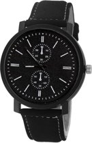Pollock Black Quartz Horloge | Zwart/Zwart | Kunstleder | Ø 45 mm