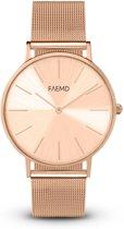 FAEMD Soleil Mesh Series - Horloge - Dames - Mesh - Classic Full Rosé Goud - Ø 37 mm