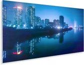 De verlichte hoofdstad Pyongyang tijdens de nacht in Azië Plexiglas 80x40 cm - Foto print op Glas (Plexiglas wanddecoratie)