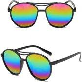 Retro zonnebril zwart met olie/spiegel glazen voor volwassenen - Zonnebrillen voor dames/heren