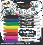 Stained sharpie fabric markers set van 8 Brush tip