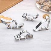 Set van 4 Koekjesvormen Dino RVS | Uitsteekvorm voor Koekjes Bakken