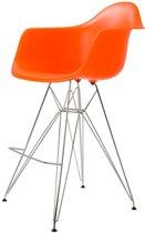 Design kruk DD DAR barkruk PP oranje kuipstoel