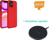 Silicone case iPhone 11 (rood) met draadloze oplader