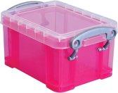 25x Really Useful Box visitekaarthouder 0,3 litres, transparant roze