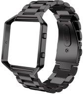 Metalen armband voor Fitbit Blaze met behuizing - Zwart