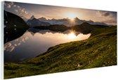 De Zwitserse Alpen bij zonsondergang Glas 60x40 cm - Foto print op Glas (Plexiglas wanddecoratie)