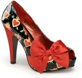 Bettie-13 Sacred heart black patent/red satin - (EU 35 = US 5) - Pin Up Couture