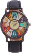 Hidzo Horloge Sonsdo ø 37 mm - Zwart - Kunstleer