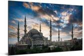 Blauwe Moskee bij een zonsopgang in Istanboel Aluminium 180x120 cm - Foto print op Aluminium (metaal wanddecoratie) XXL / Groot formaat!