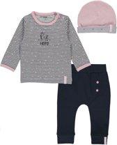 Dirkje Basics Meisjes Set(3delig) Shirt gestreept met Broek Donkerblauw met Mutsje - Maat 44