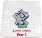 Leuk kado met naam badhanddoek zwemdiploma easy swim katoen - wit