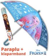 Paraplu Frozen 2 voor kinderen Elsa & Anna + klaparmband | Uit film Frozen II polyester 86cm | US04