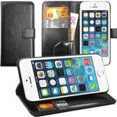 Wallet bookcase type hoesje voor Apple iPhone 5C - Zwart