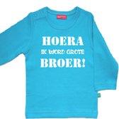 T-shirt lange mouw | Hoera! ik word grote broer| aqua blauw | maat 110/116
