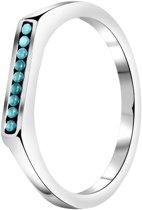 Lucardi - Stalen ring bar turquoise kristal