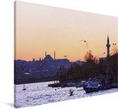 Kleurrijke lucht boven Istanbul Canvas 180x120 cm - Foto print op Canvas schilderij (Wanddecoratie woonkamer / slaapkamer) XXL / Groot formaat!