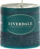 Riverdale Pillar - Kaars - 7.5x7.5cm - emerald