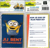 12 Uitnodigingskaartjes met envelop - Minions donkerblauw - 9 x 13.5 cm