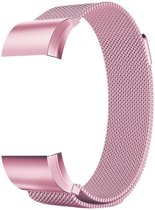 Metalen armband voor Fitbit Charge 2 magneet slot - Kleur - Roze, Maat - L (Large)