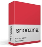 Snoozing - Katoen-satijn - Hoeslaken - Lits-jumeaux - 180x220 cm - Rood
