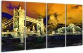 Glasschilderij Londen | Geel, Blauw, Crème | 160x80cm 4Luik | Foto print op Glas |  F003445
