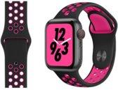 horlogebandje voor Apple Watch 2, 3, 4. Groot (42-44 mm). Tweekleurig ontwerp, ventilerend met gaten. Zwart en roze