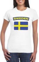 T-shirt met Zweedse vlag wit dames XS