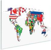 Een wereldkaart met alle vlaggen Plexiglas 180x120 cm - Foto print op Glas (Plexiglas wanddecoratie) XXL / Groot formaat!