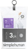 Simplehuman Afvalzak Code D - Voor Pocket Liners - 20 l - Set van 3 x 20 Stuks