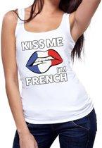Kiss me I am French tanktop / mouwloos shirt wit dames - feest shirts dames - Frankrijk kleding M