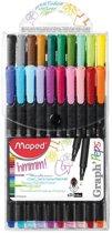 Graph'peps fijnschrijver 0,4 mm - 20 assorti kleuren - in etui x 20
