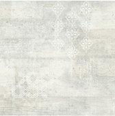 Vintage beton/print wit/grijs behang (vliesbehang, wit)
