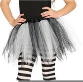 Heksen petticoat/tutu verkleed rokje zwart/wit 31 cm voor meisjes - Tule onderrokjes zwart/wit voor kinderen