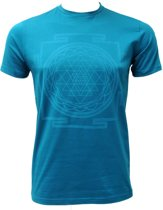 "Yoga-T-Shirt ""Sri Yantra"", men - petrol XL Loungewear shirt YOGISTAR"