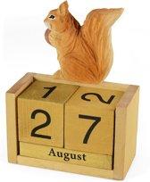 Eeuwigdurende kalender hout eekhoorn vorm thema dieren cadeaus