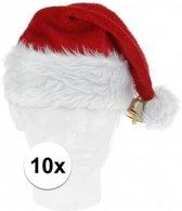 10x Luxe pluche kerstmutsen met bel