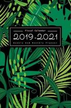 Fiscal Calendar 2019-2021: Weekly & Monthly Planner 2 Year Calendar Schedule, Grid Notes, No Holiday For Everyone, Colorful Tropical Leaves Green