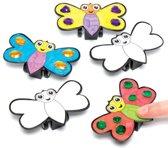Sets met terugtrekracers in de vorm van vlinders die kinderen naar eigen smaak kunnen maken en versieren – creatieve speelgoedknutselset voor kinderen (6 per verpakking)