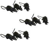 9x Grote plastic ratten 12 cm - Halloween/horror decoratie/versiering - Enge rat 9 stuks