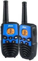 Alecto FR-27 Portofoon twinset 7km - Laadstation, 8 Kanalen, Verlicht display, FM Radio - Zwart / Blauw