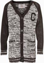 Creamie - meisjes vest - gebreid - lang model - Stinna - grijs zwart - Maat 104