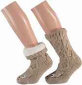 Dames huissokken kabel met 3D hond bruin - slofsokken / antislip sokken