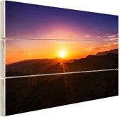 Zonsondergang over bergen Hout 60x40 cm - Foto print op Hout (Wanddecoratie)