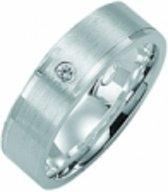 Kiss Me ring zilver mat met hoogglans elementen en zirkonia KM120 maat 50