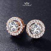 Victoria - Rose Goudkleurige Oorbellen - Topkwaliteit AAA Zircone Kristallen