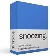 Snoozing - Katoen-satijn - Hoeslaken - Lits-jumeaux - Extra Hoog - 180x220 cm - Meermin