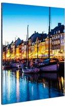 Nyhavn by night Aluminium 120x180 cm - Foto print op Aluminium (metaal wanddecoratie)