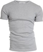 Garage 301 - T-shirt R-neck semi bodyfit grey melange S 100% cotton 1x1 rib