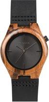 HOT&TOT Cebra Nero - Houten horloge - Leer - Bruin - Zwart - ø 38mm